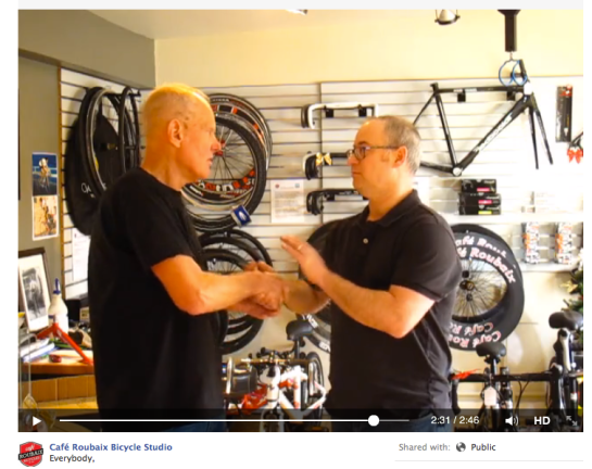 Specialized Bicycles' Founder and CEO Mike Sinyard personally traveled to Cochrane, Canada to delivery an apology to Cafe Roubaix founder Dan Richter.