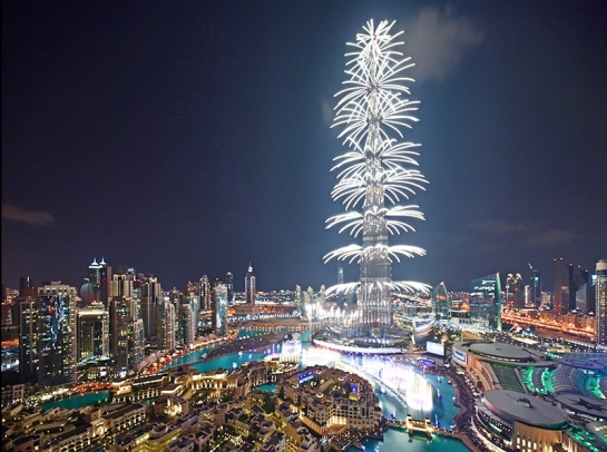 2014 New Year's fireworks on the Burj Khalifa, Dhubai.