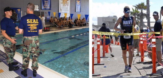 (left) Athletes participate in the Navy SEAL Fitness Challenge in Dearborn, Michigan. (right) Naval Special Warfare Operator Mitch Hall wins the annual SuperSEAL triathlon in Coronado, California. (Photos by Tom Demerly).